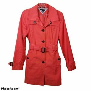 Tommy Hilfiger Trench Coat Red Collar Belted Med